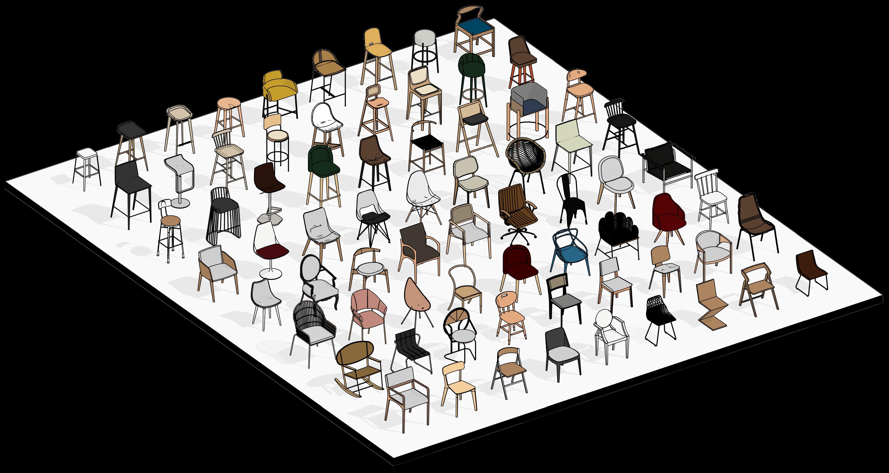 Cadeiras em Revit