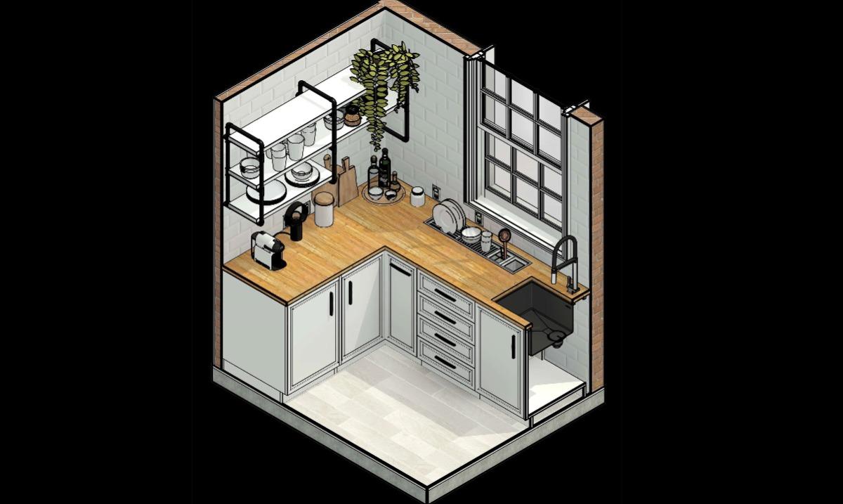 Cozinha Isométrica em Revit - Projeto de interiores BIM