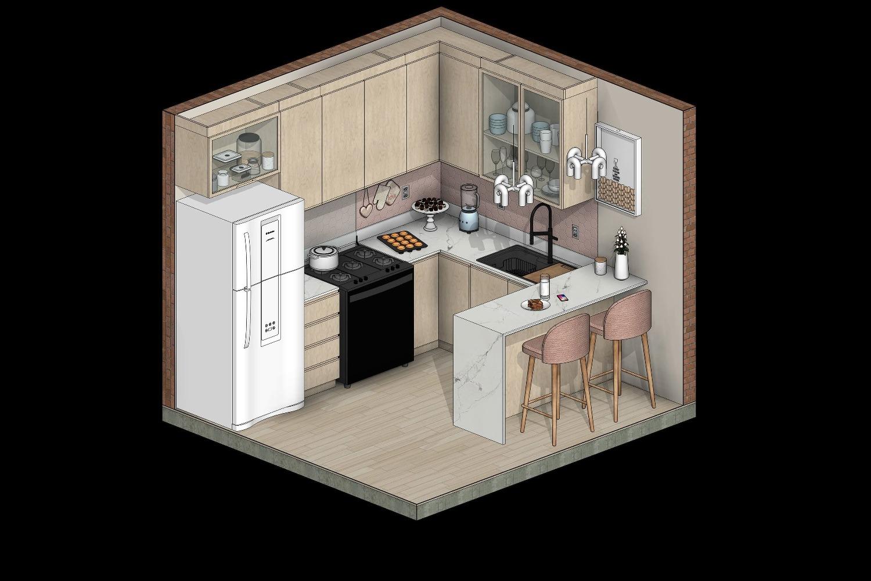 Cozinha em Revit vista isométrica