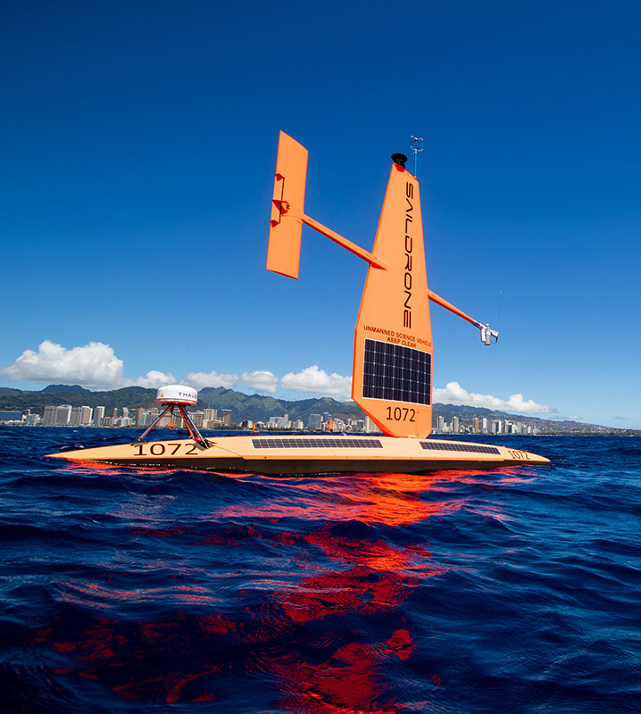 Saildrone Explorer unmanned surface vehicle equipped for maritime domain awareness missions in Hawaii.