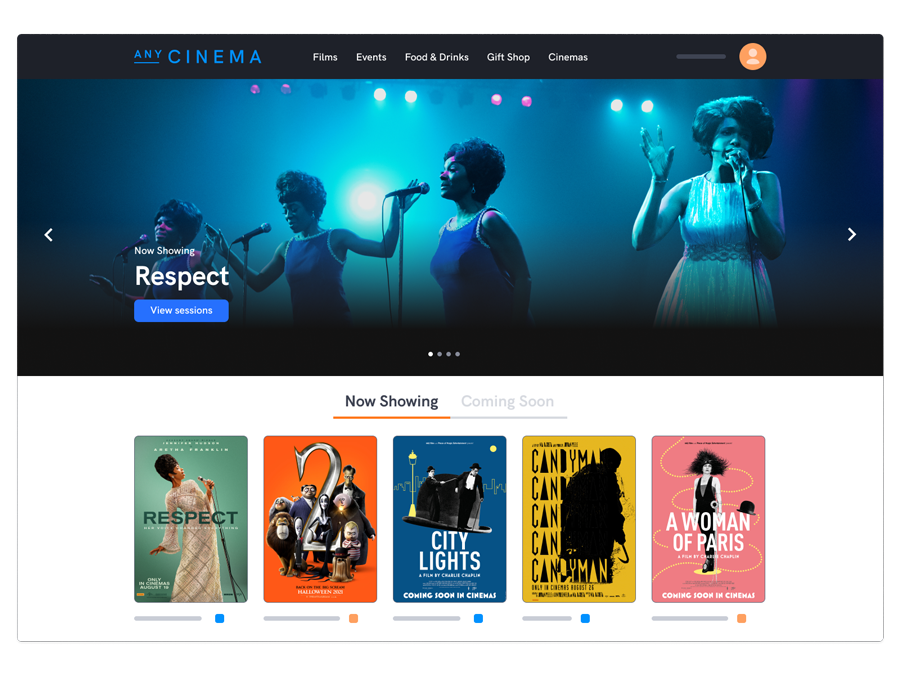 Cinema websites and online ticketing