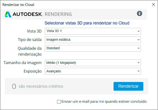 Ajustes para renderização no Cloud