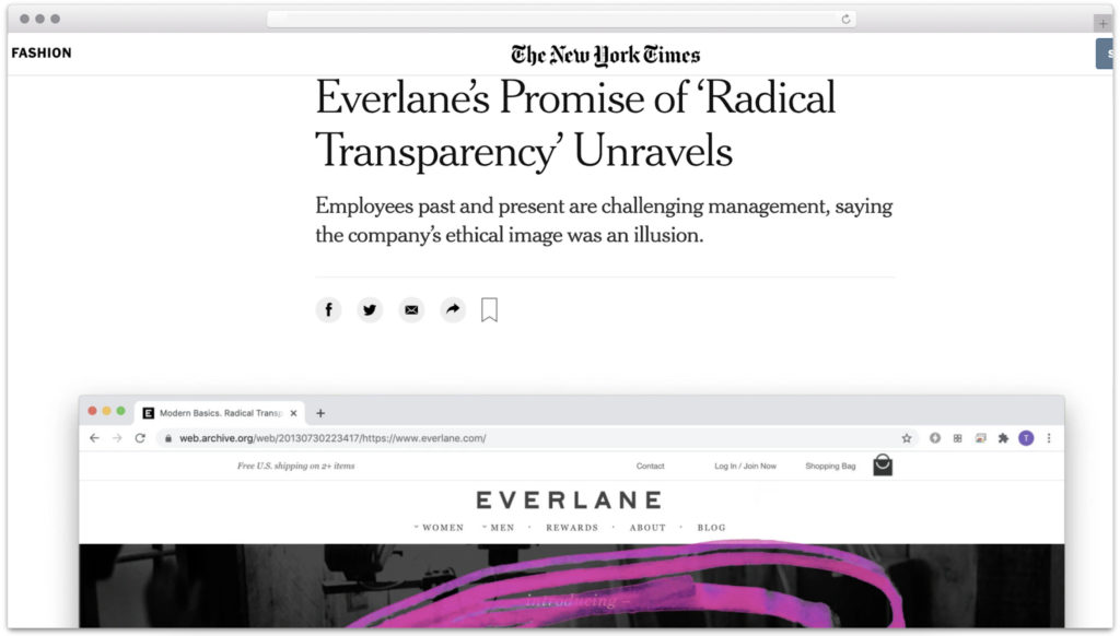 Everlane radical transparency lacking in New York Times