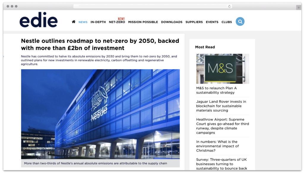 Edie on Nestle net-zero targets
