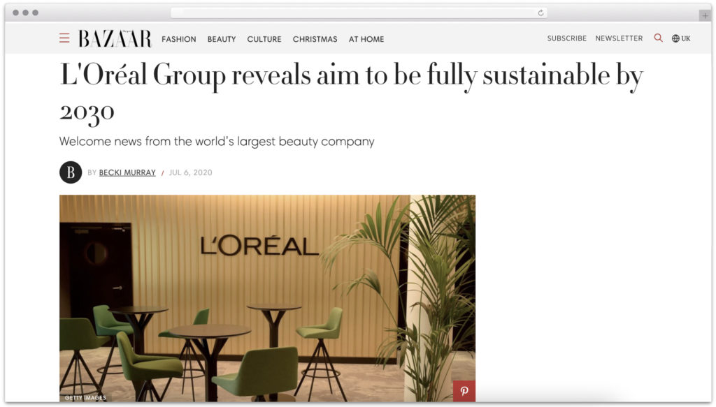 L'oreal sustainability targets Harpers Bazaar