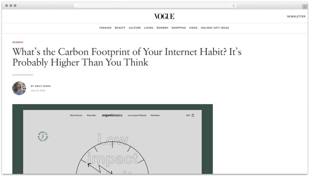 Vogue Organic Basics Carbon Footprint of websites