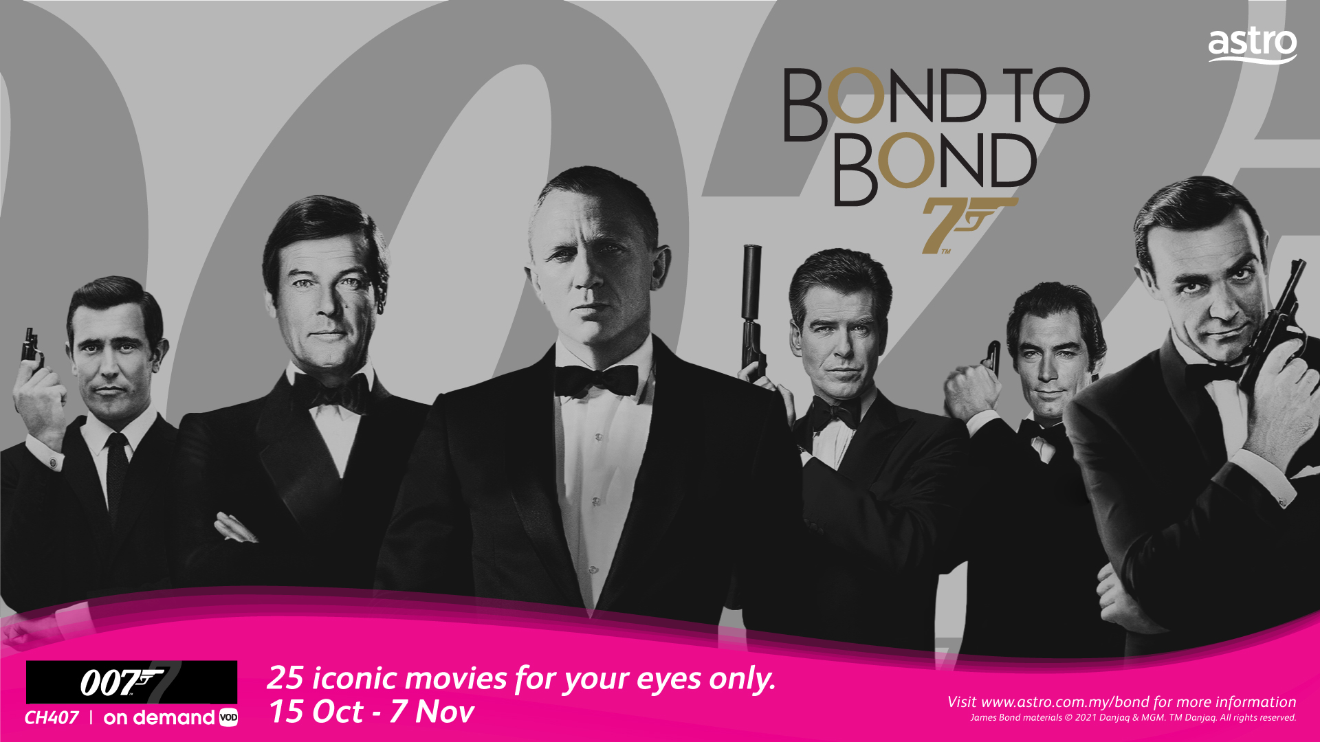 Astro brings collection of 25 iconic James Bond movies