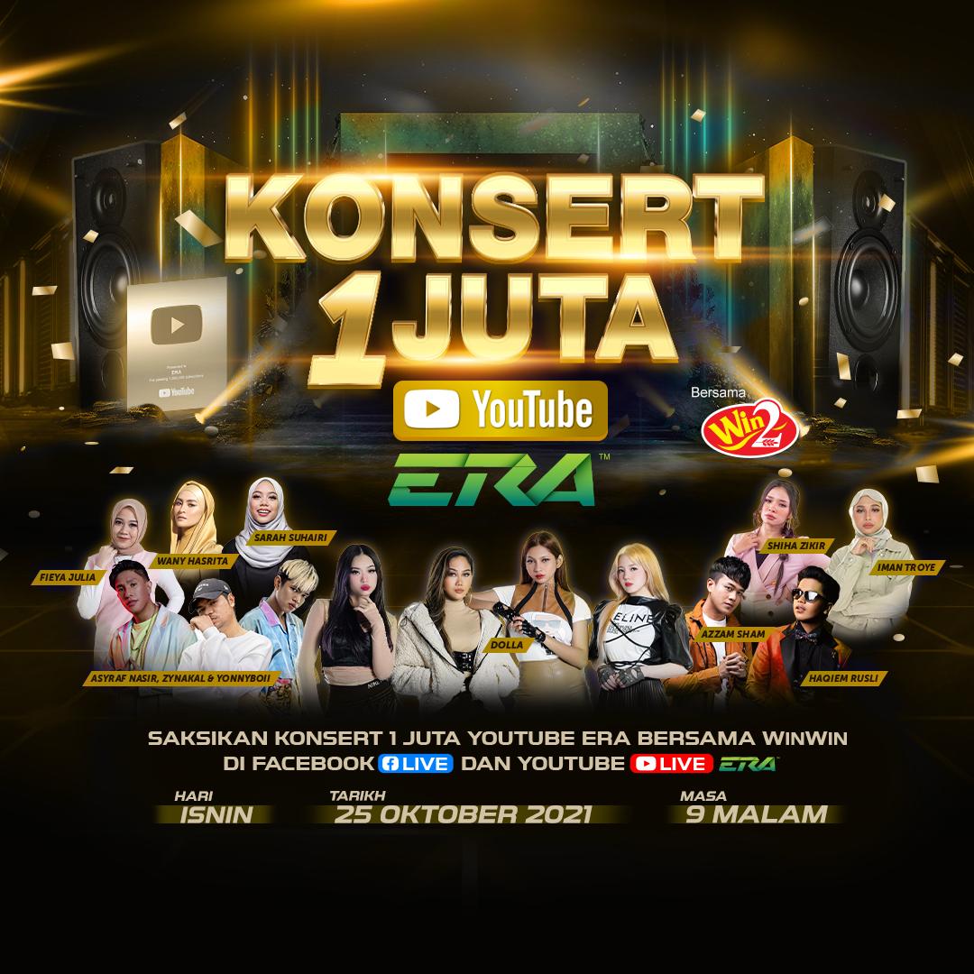 Strim konsert digital 'Konsert 1 Juta YouTube ERA' pada 25 Oktober