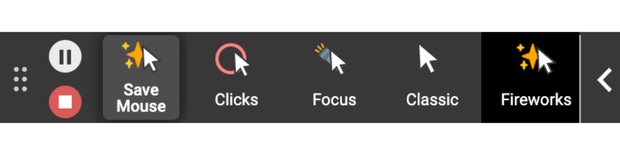 A picture of the mouse effect options in the new toolbar