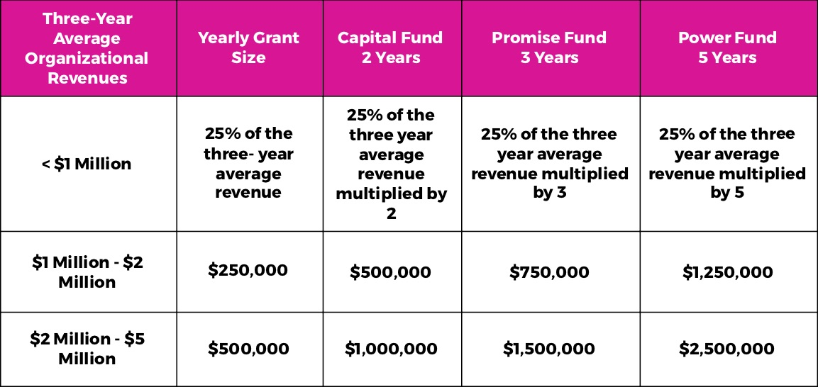 A table laying out the numbers for the Capital Fund at Marguerite Casey Foundation