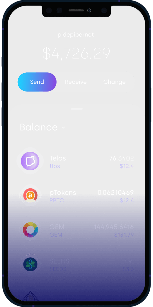 Cell Phone Mockup of Telos Web Wallet with TLOS and other Tokens in it