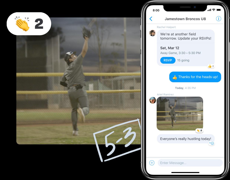 Baseball messaging in Team Manager app
