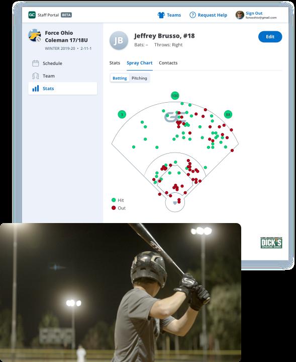 GameChanger web portal for staff, baseball stats and spray charts