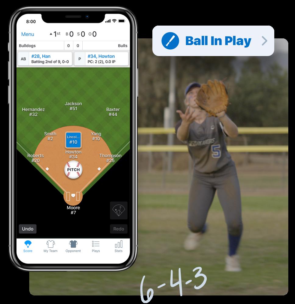 Softball scorekeeping in app