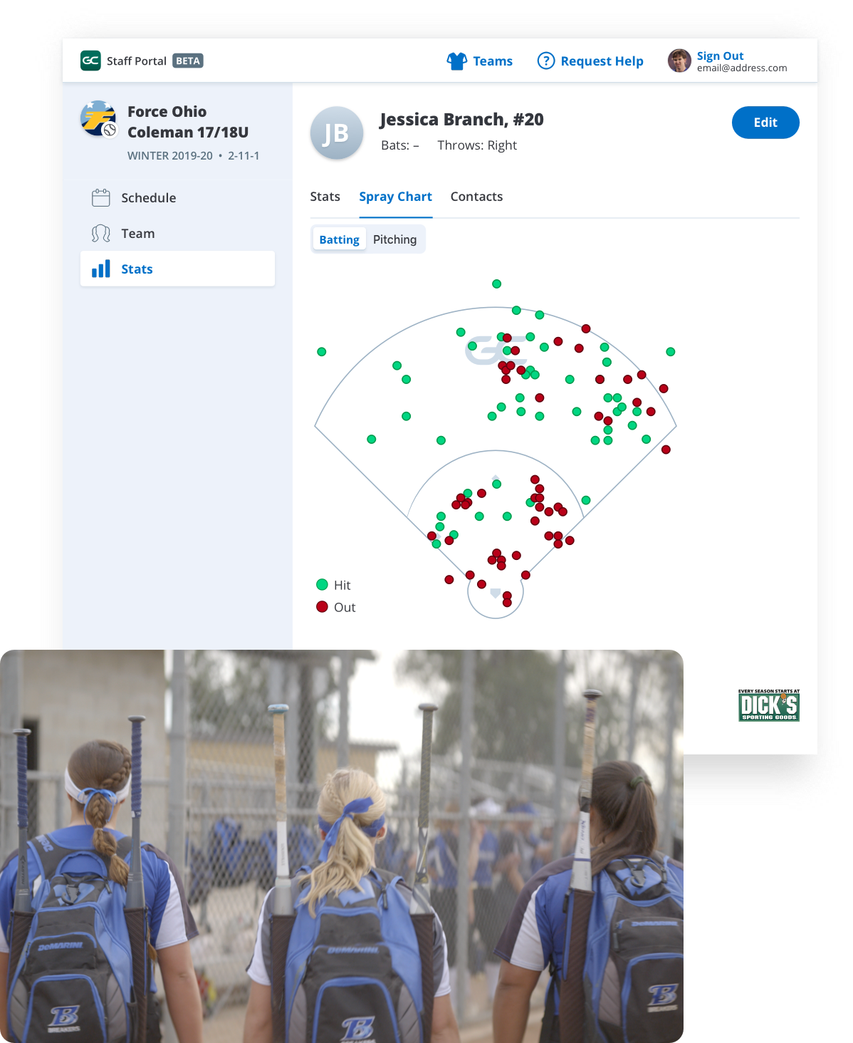 GameChanger Team Manager web portal for softball, stats and spray charts