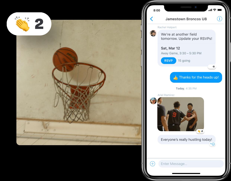 Basketball messaging in app