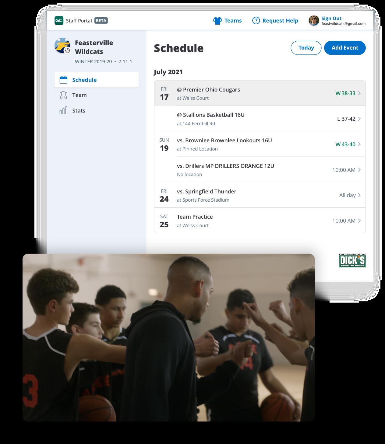 GameChanger Team Manager web portal for basketball team, schedule