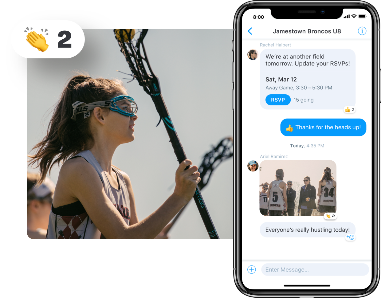 Lacrosse team messaging in app