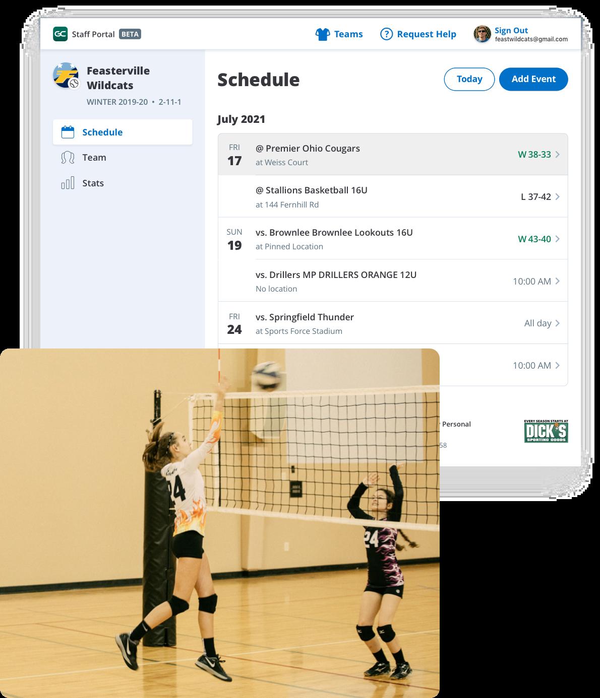 GameChanger Team Manager web portal for girls' volleyball team, schedule