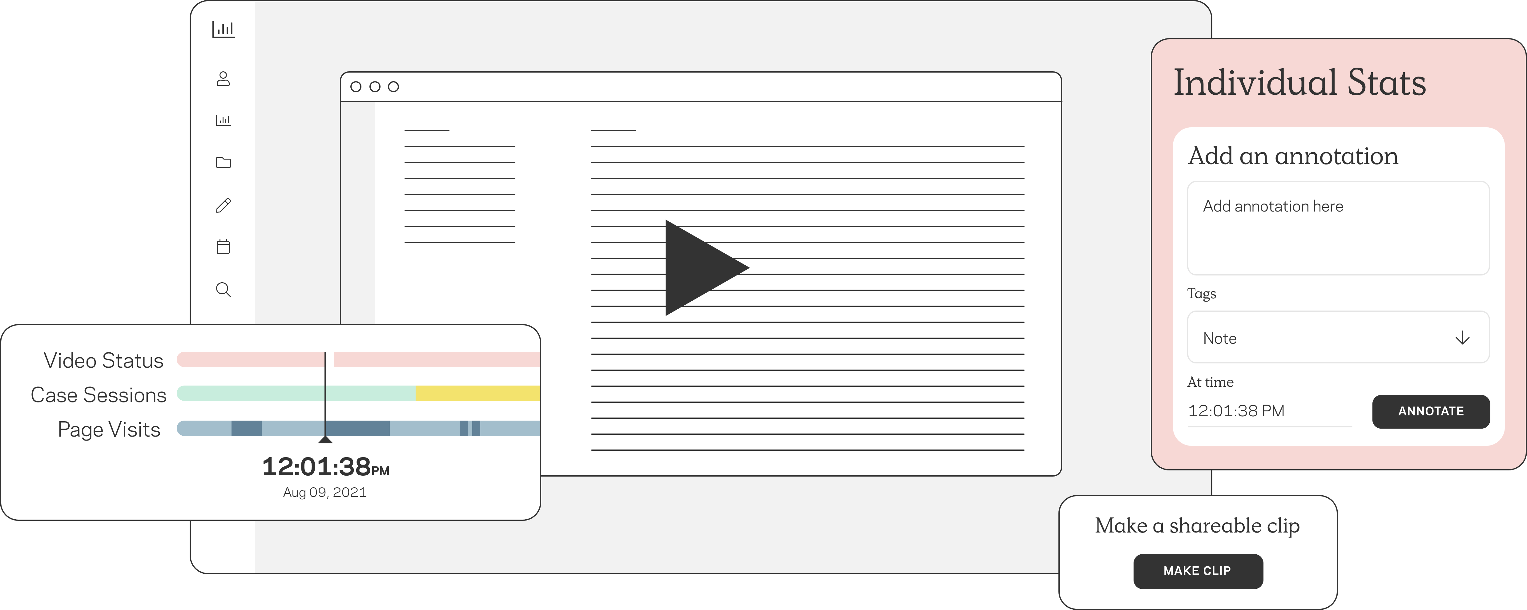 Video functionality shows the ability to make clips and annotate