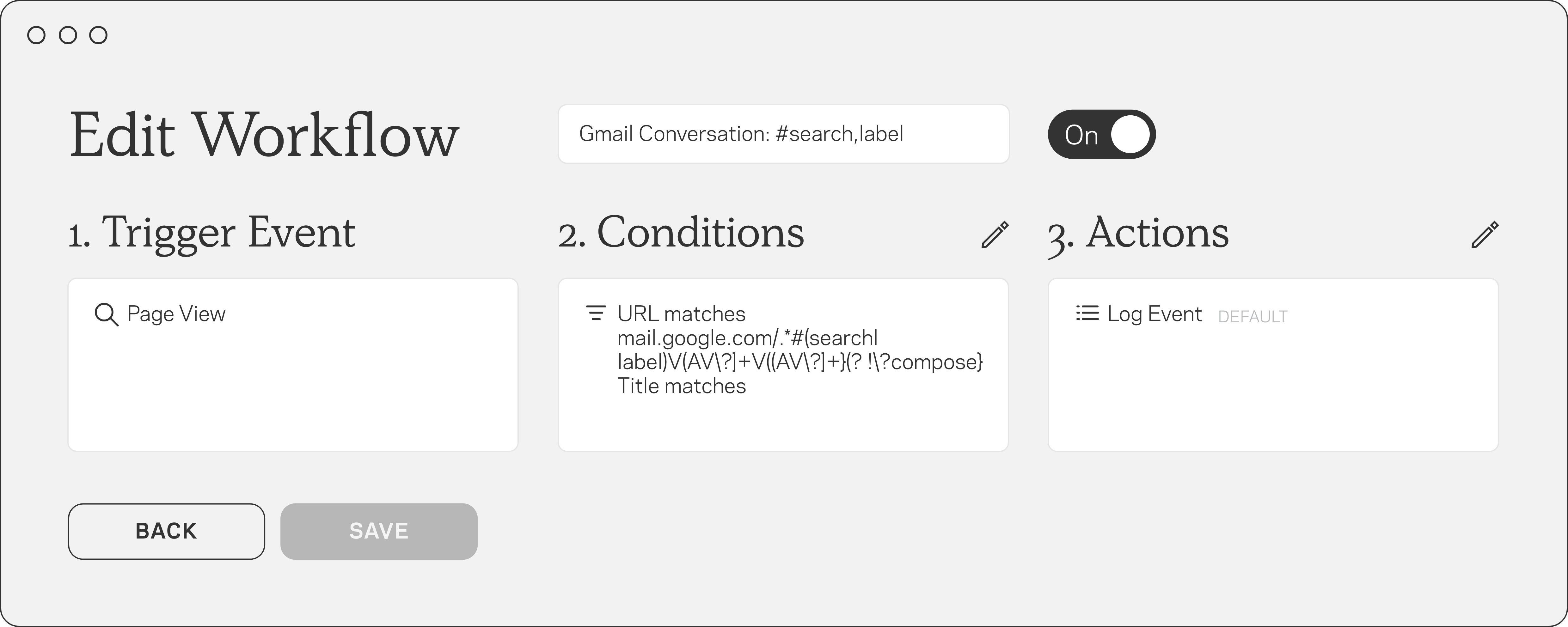 Editable workflow with event triggers, conditions, actions and labels