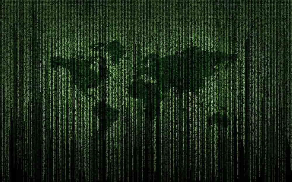 World map in matrix code style