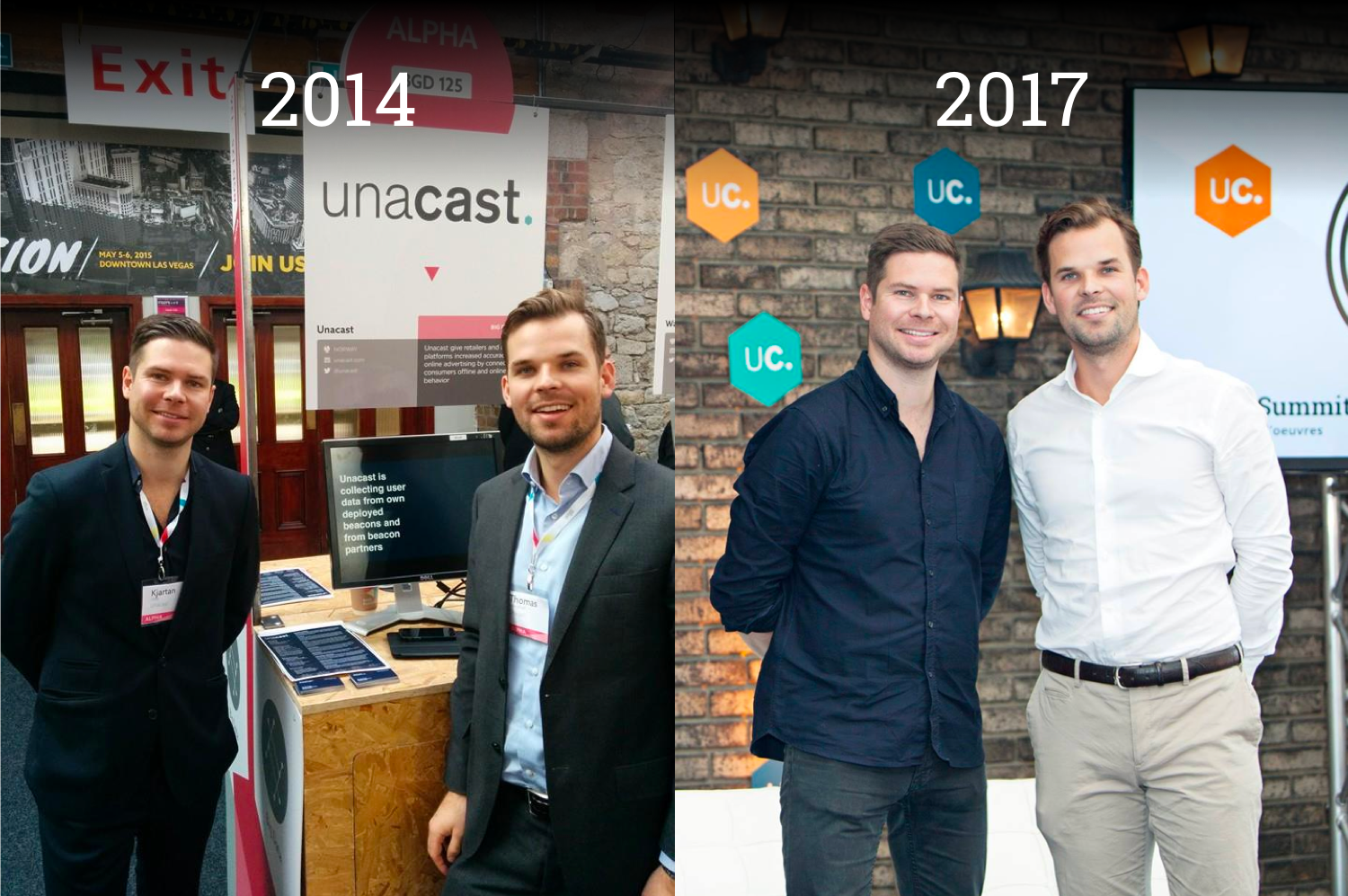 Unacast Co-Founders Kjartan (KJ) Slette and Thomas Walle throughout the years