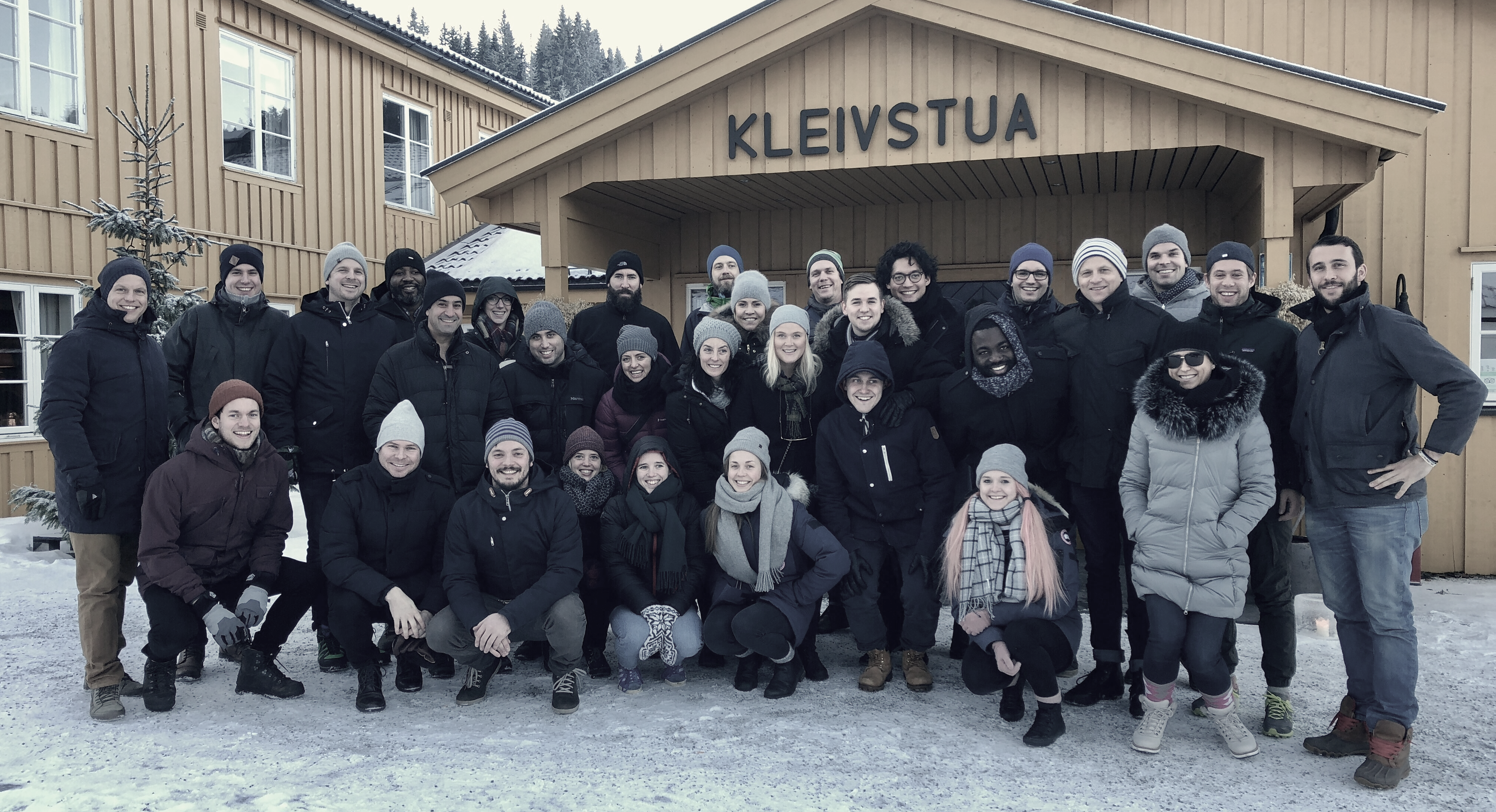 The Unacast team assembled at the December Round Table at Kleivstua, Norway