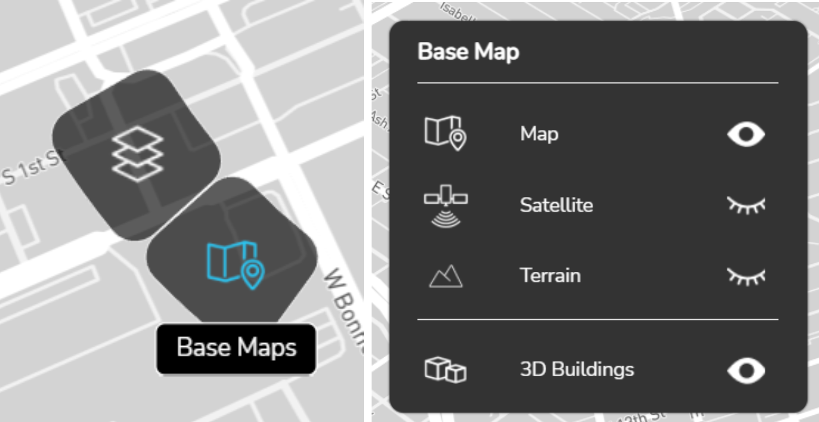 a. Clicking on base maps opens base maps layers card
