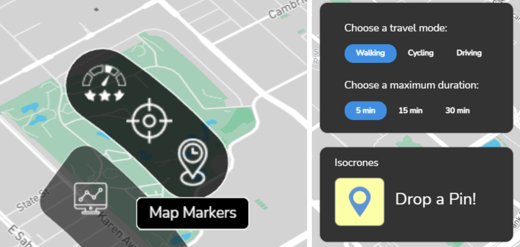 a. Use the 'Map Markers' button to open the 'Drop a Pin' tab