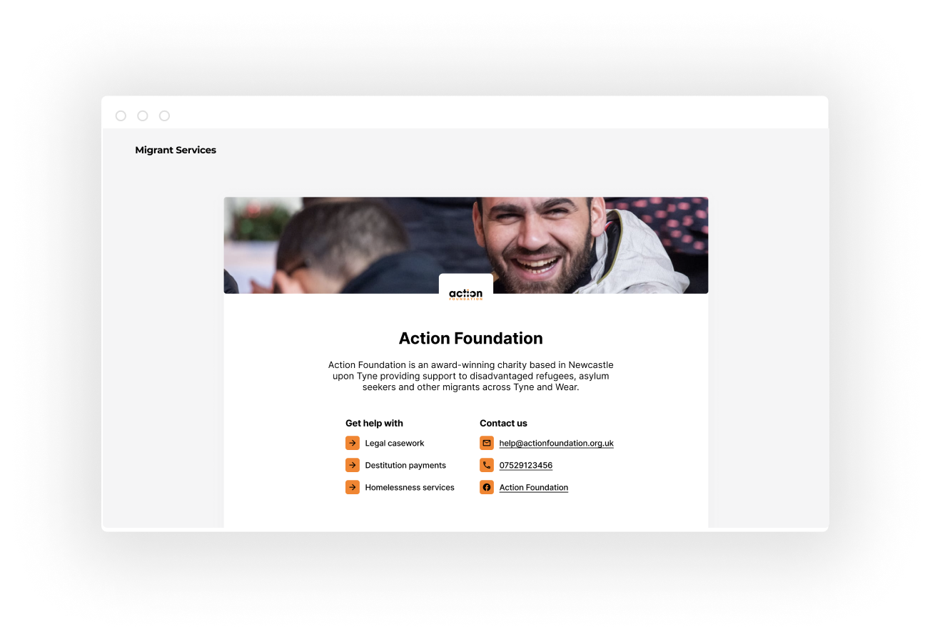 A screenshot of Action Foundation's Migrant Services homepage