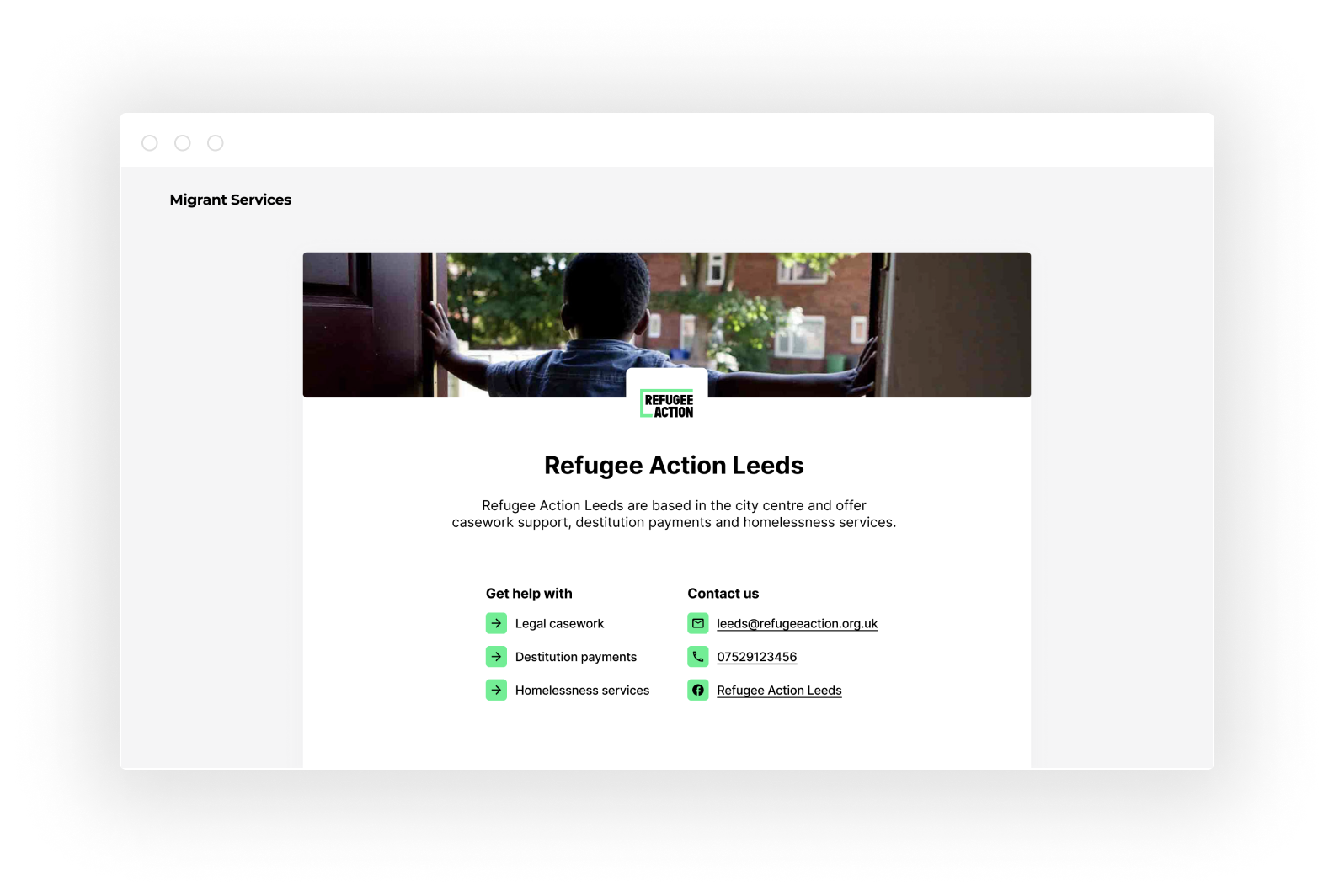 A screenshot of Refugee Action Leeds' Migrant Services homepage