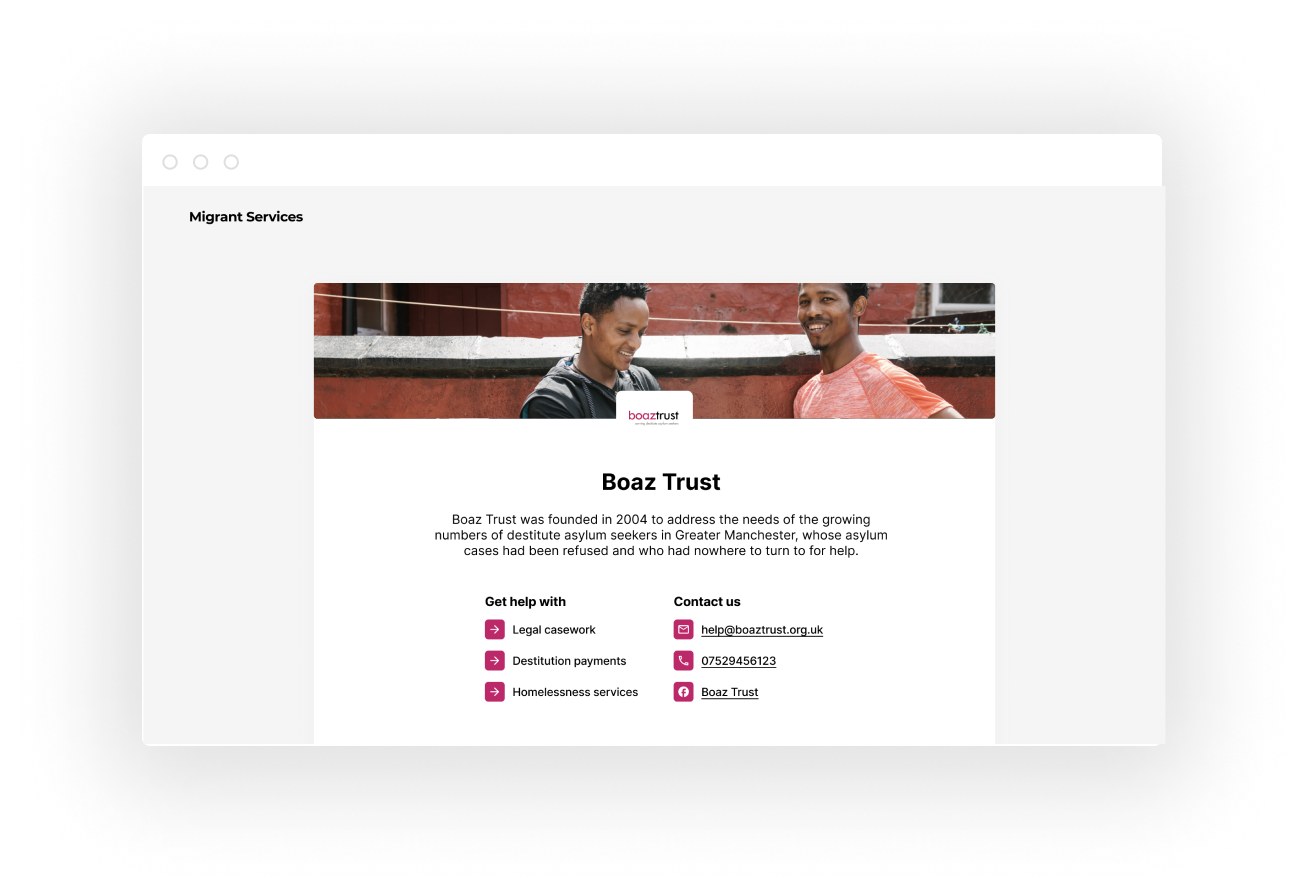 A screenshot of Boaz Trust's Migrant Services homepage