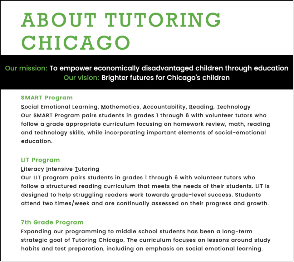 Tutoring Chicago About