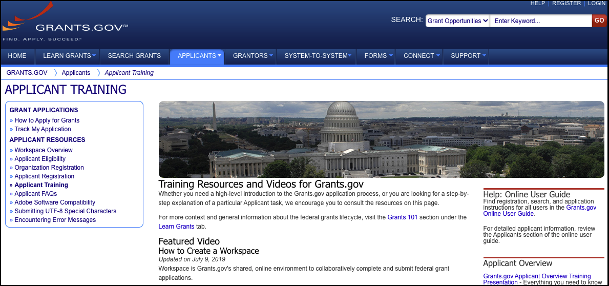 Applicant Training Grants.gov