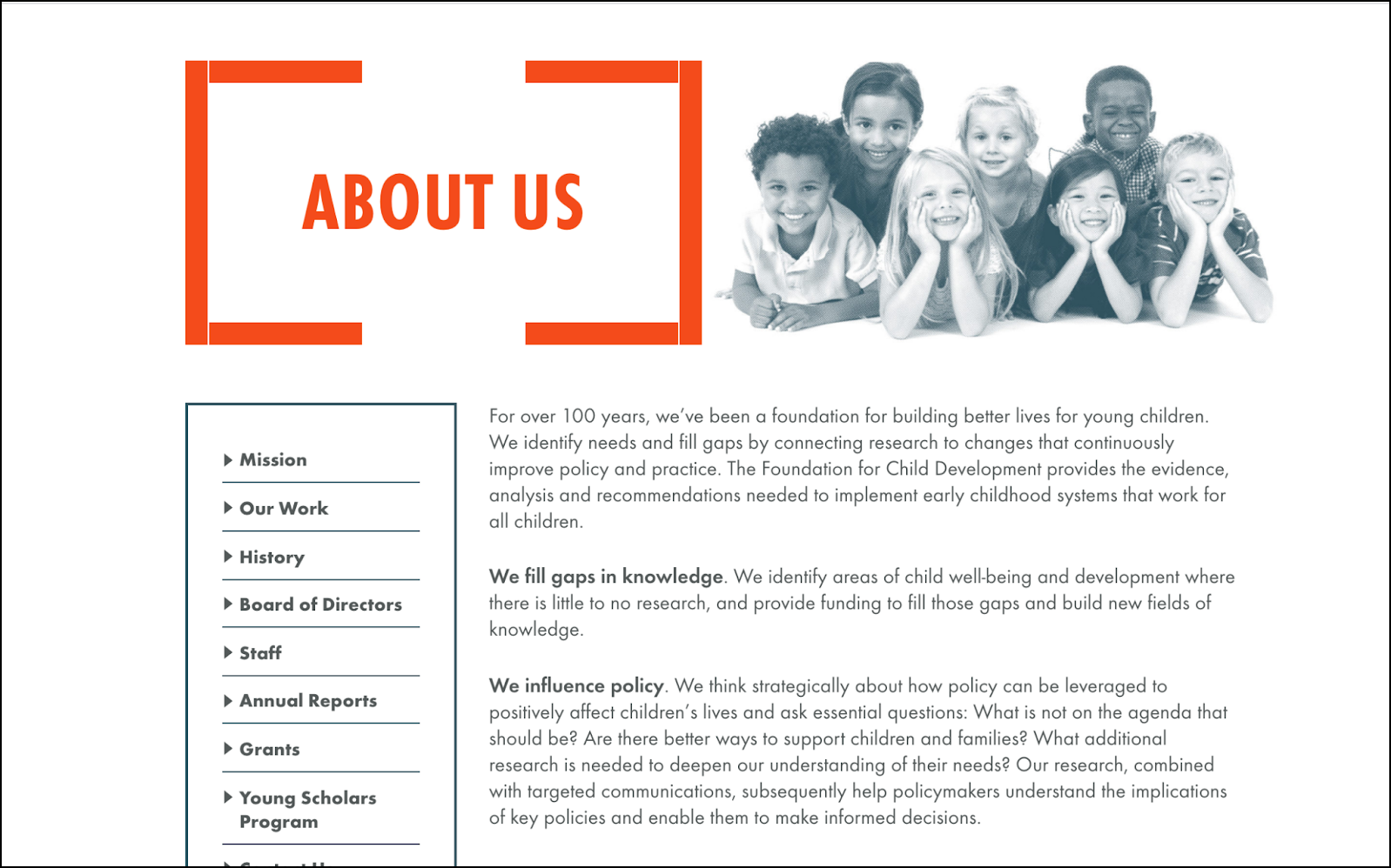 Foundation for Child Development About Us page