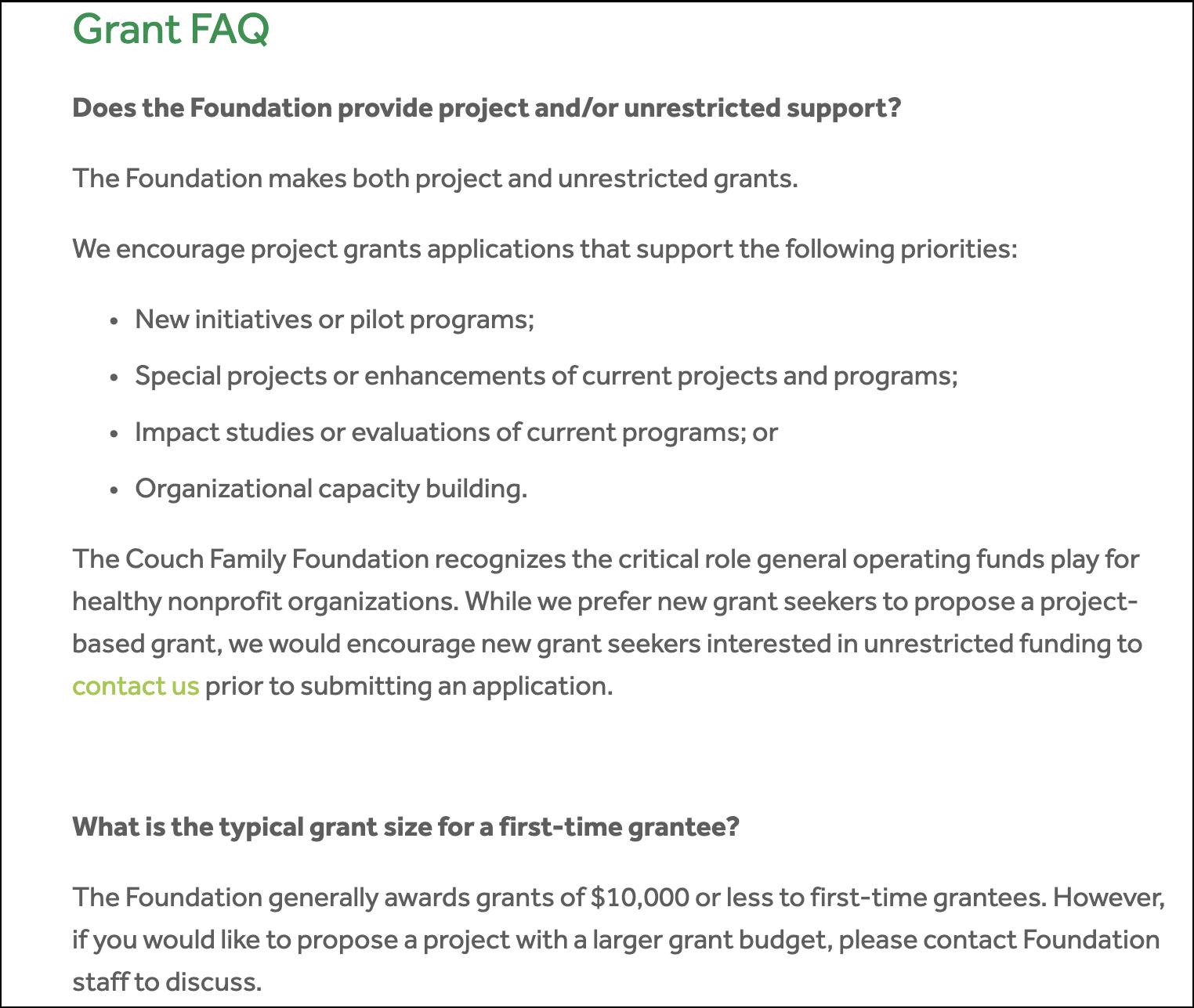 Grant FAQ