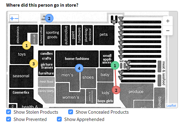 Single event store map showing where a suspect selected and concealed goods as well as where they were apprehended.