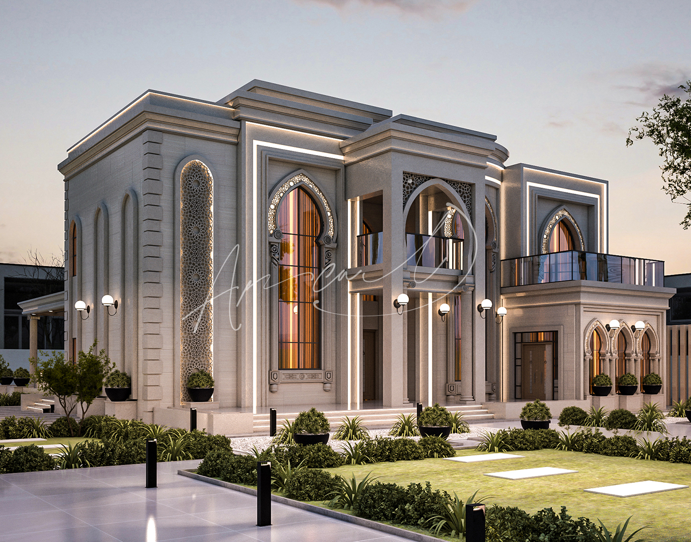 Islamic Luxurious Villa Exterior Design - 076