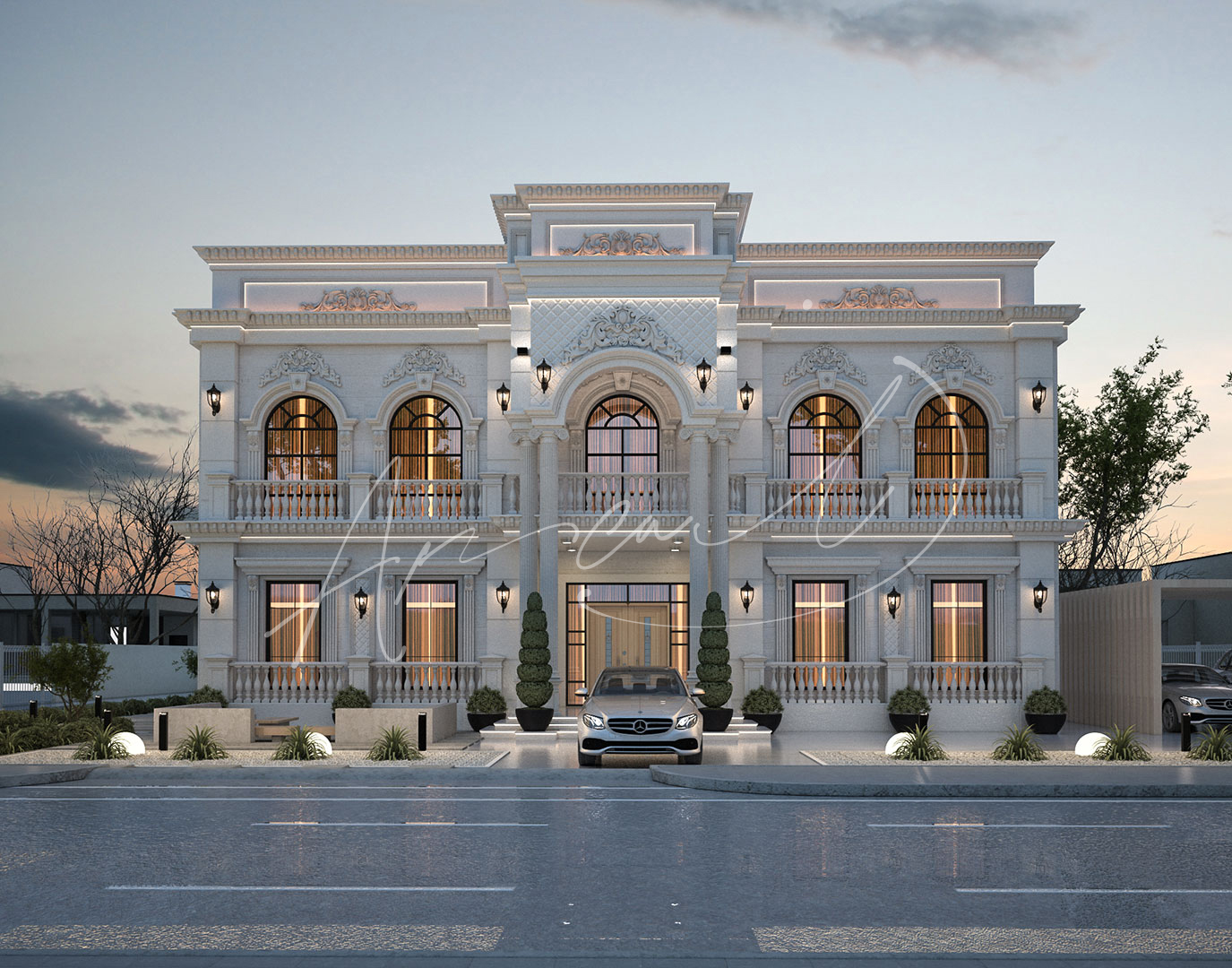 Classic Luxury Residential Villa Exterior Design - 001