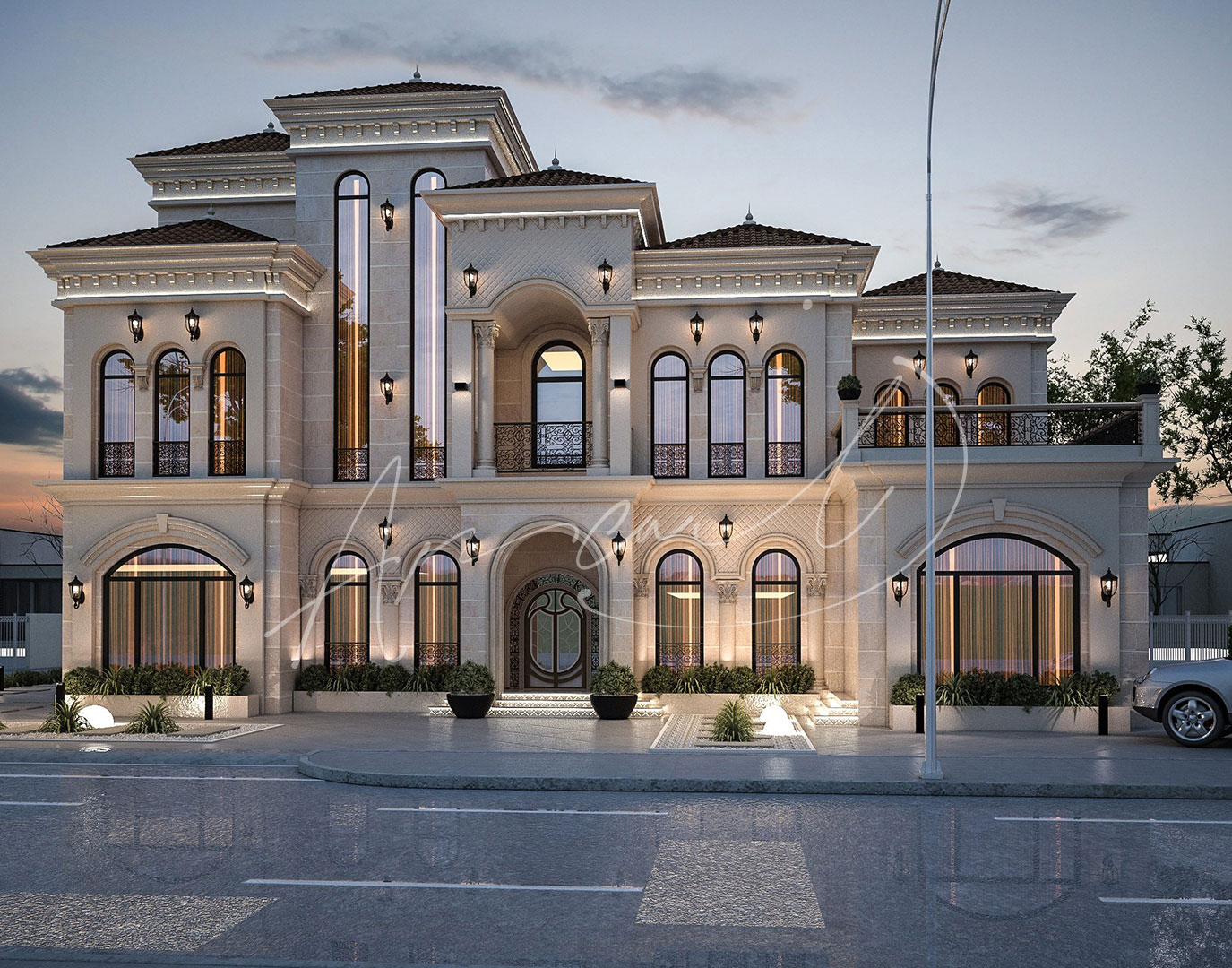 Classic Luxury Residential Villa Exterior Design - 013