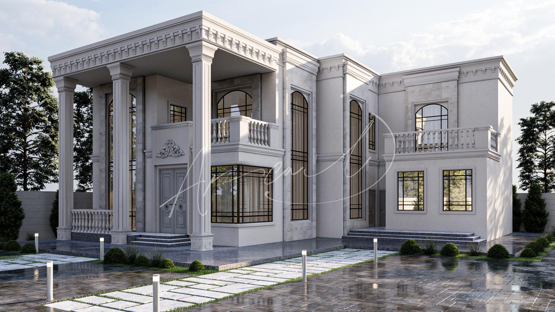 Classic Luxury Residential Villa Exterior Design - 048