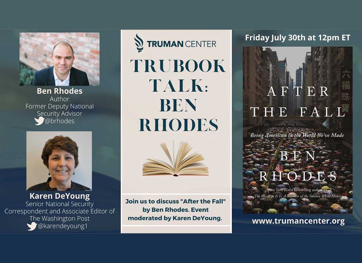 """Event: """"After the Fall,"""" A TruBook Talk with Ben Rhodes"""