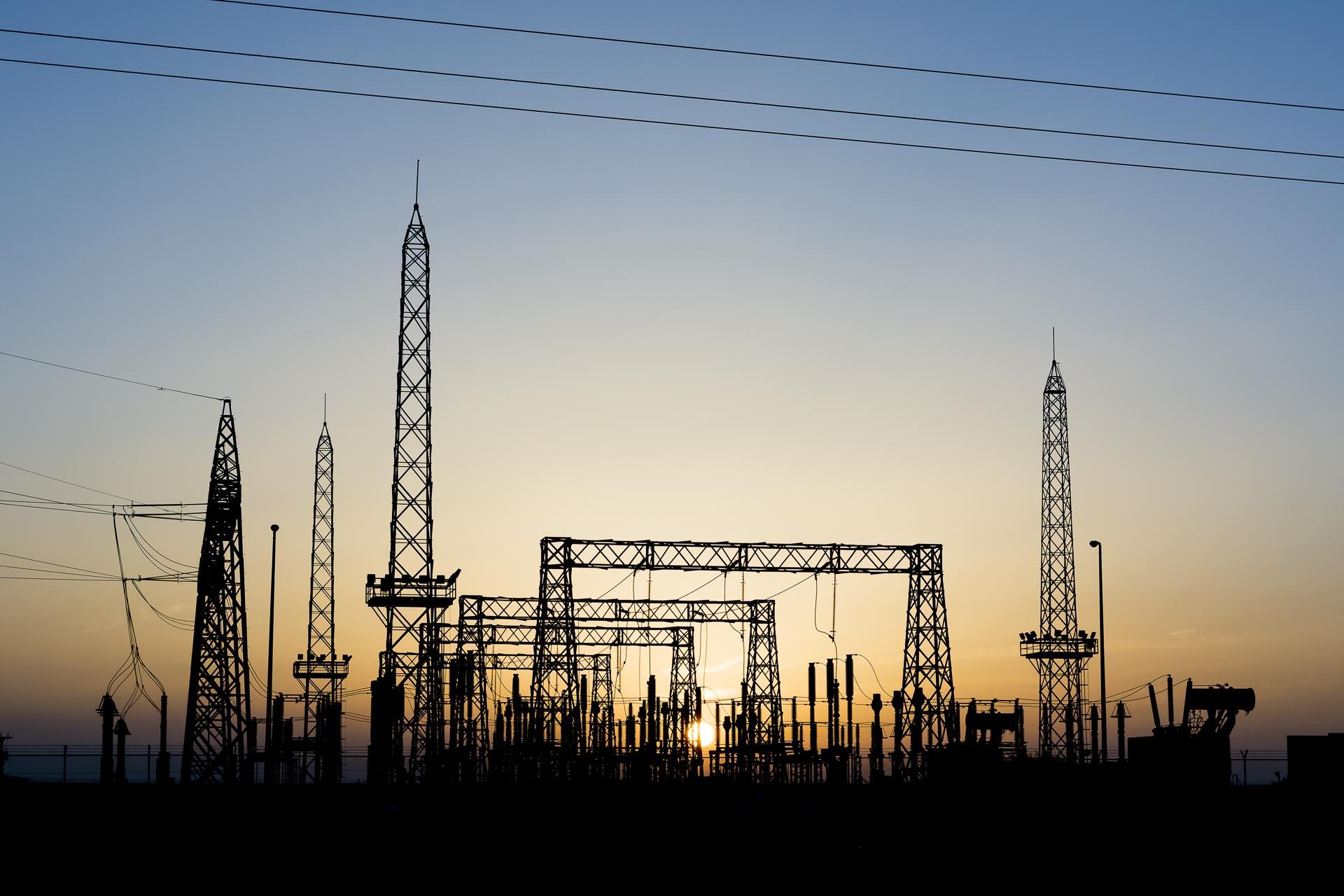 utility substation at dusk
