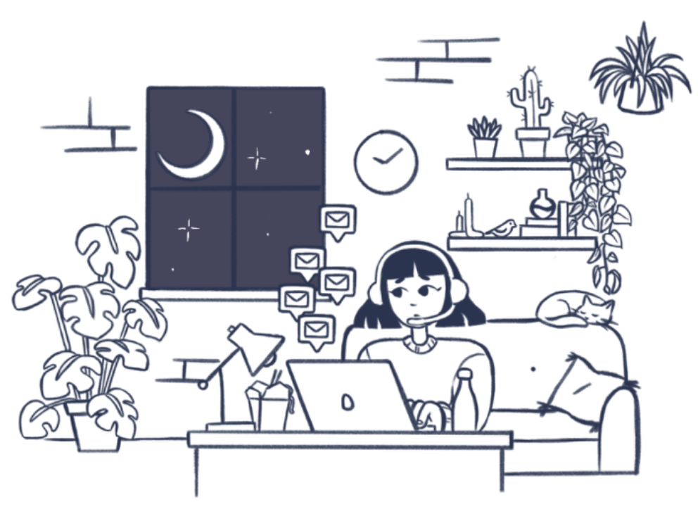 Person working late at night