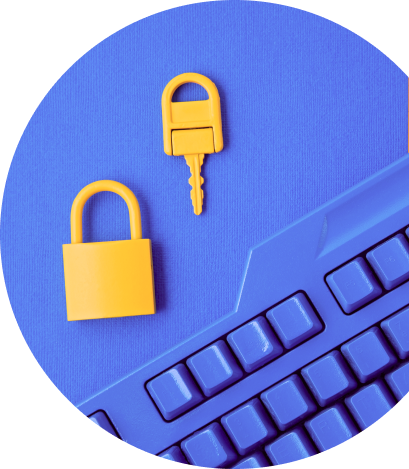 Lock and key by a violet keybord