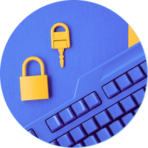 Lock and key by a violet keyboard