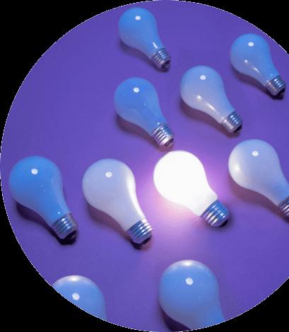 Lightbulbs on a violet background