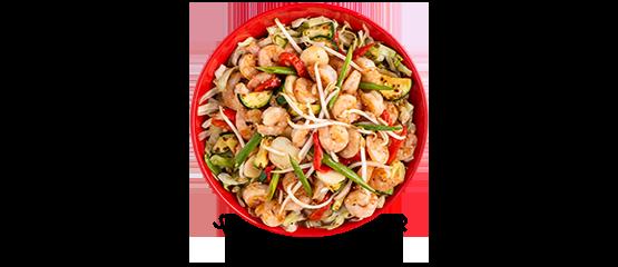 Low-carb sesame garlic shrimp bowl