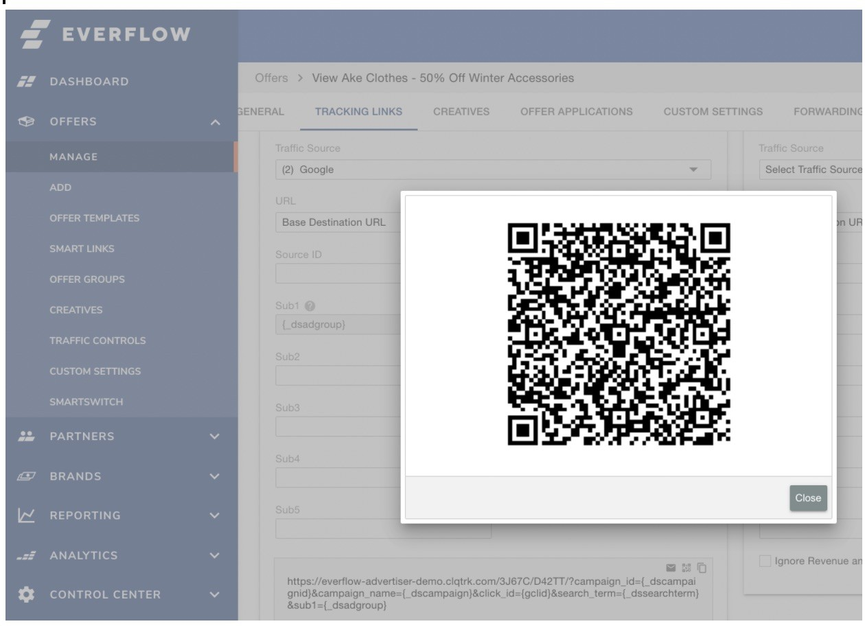 QR code tracking setup in Everflow